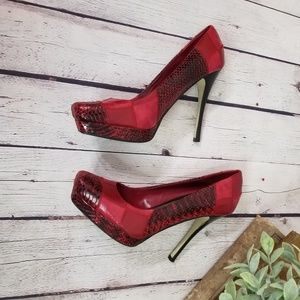 Bakers Red Erykah patchwork snakeskin heels size 9